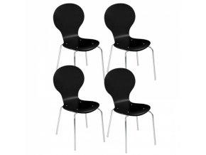 Dřevěná jídelní židle BLACK, 4 ks, černá