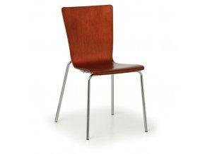 Dřevěná židle s chromovannou konstrukcí CALGARY, ořech, 4 ks