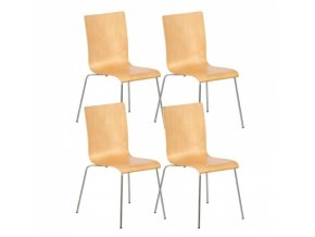 Dřevěná židle s chromovanou konstrukcí CLASSIC, přírodní, 4 ks
