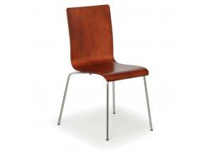 Dřevěná židle s chromovanou konstrukcí CLASSIC, ořech, 4 ks