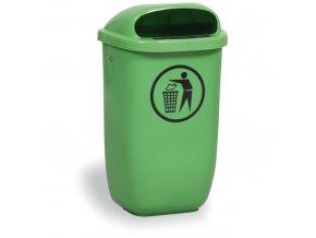Venkovní odpadkový koš na sloupek, světle zelený
