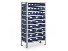 Regál s plastovými boxy MAX - 1600 x 800 x 400 mm, 18x B, 18x E
