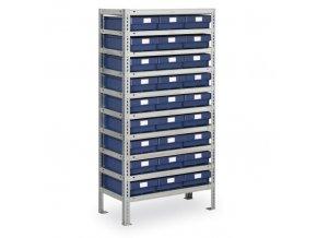 Regál s plastovými boxy MAX - 1600 x 800 x 300 mm, 27x box D