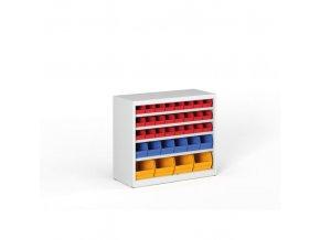 Regál s plastovými boxy - 800 x 920 x 400 mm, 24xA, 6xB, 4xC