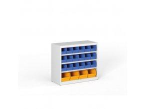 Regál s plastovými boxy - 800 x 920 x 400 mm, 18x B, 4x C