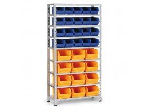 Regál s plastovými boxy - 20x box B, 12x box C