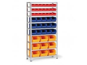 Regál s plastovými boxy - 21x box A, 15x box B, 9x box C