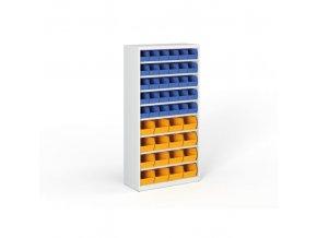 Regál s plastovými boxy - 1800 x 920 x 400 mm, 30x B, 16x C