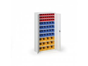 Skříň s plastovými boxy 1800 x 920 x 400 mm, 24xA/24xB/12xC, šedá/šedé dveře