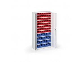 Skříň s plastovými boxy 1800 x 920 x 400 mm, 64xA/24xB, šedá/šedé dveře