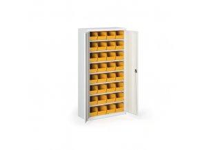 Skříň s plastovými boxy 1800 x 920 x 400 mm, 32xC, šedá/modré dveře