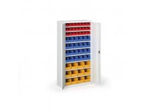 Skříň s plastovými boxy 1800 x 920 x 400 mm, 24xA/24xB/12xC, šedá/modré dveře