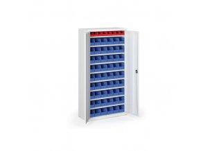 Skříň s plastovými boxy 1800 x 920 x 400 mm, 8xA/54xB, šedá/modré dveře