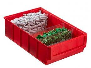 Plastový regálový box ShelfBox, 183 x 300 x 81 mm, červený