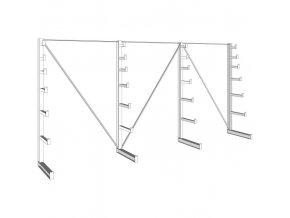 Konzolový regál stromečkový, jednostranný, 150 kg, 2000 x 4050 x 590 mm