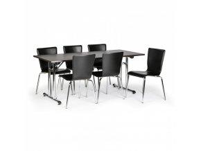Skládací konferenční stůl FOLD, 1800x800 mm, wenge + 6x židle CAPRIO