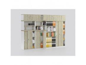 Sestava kancelářského nábytku MIRELLI A+, typ D, bílá/dub sonoma