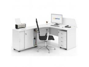 Kancelářský pracovní stůl s kontejnerem MIRELLI A+, typ F, bílá