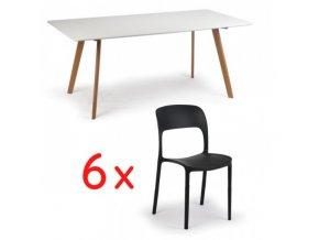 Jídelní stůl 180x90 + 6x plastová židle REFRESCO černá