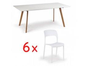 Jídelní stůl 180x90 + 6x  plastová židle REFRESCO bílá