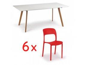 Jídelní stůl 180x90 + 6x plastová židle REFRESCO červená