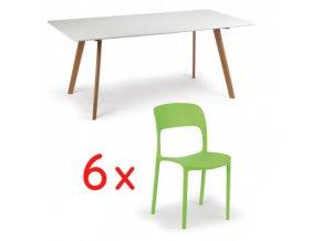 Jídelní stůl 180x90 + 6x plastová židle REFRESCO zelená