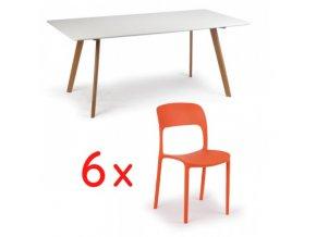 Jídelní stůl 180x90 + 6x plastová židle REFRESCO oranžová