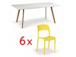 Jídelní stůl 180x90 + 6x plastová židle REFRESCO žlutá