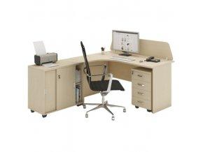 Kancelářský pracovní stůl s kontejnerem MIRELLI A+, typ F, bříza