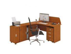 Kancelářský pracovní stůl s kontejnerem MIRELLI A+, typ F, třešeň
