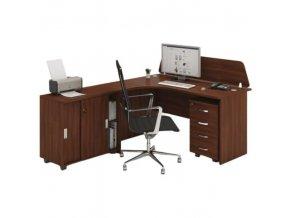 Kancelářský pracovní stůl s kontejnerem MIRELLI A+, typ F, ořech
