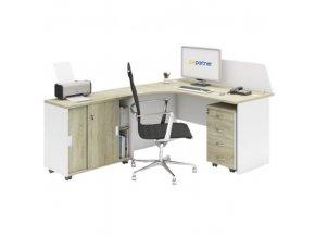Kancelářský pracovní stůl s kontejnerem MIRELLI A+, typ F, bílá/dub sonoma