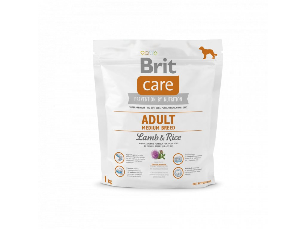 4212 brit care adult medium breed lamb rice 1kg