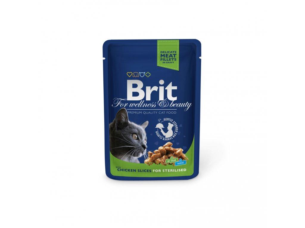 4356 kapsicka brit cat premium pouches kureci platky sterilised 100g