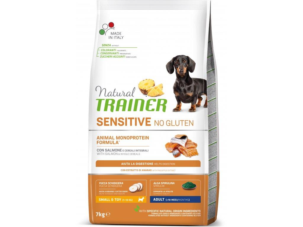 Trainer Natural Sensitive No glutén Adult Mini losos 7kg