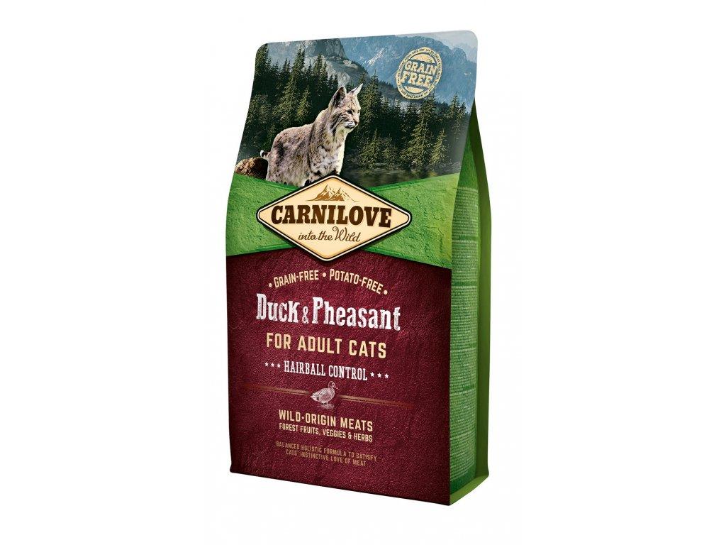 6591 carnilove cat grain free duck pheasant adult hairball control 2kg