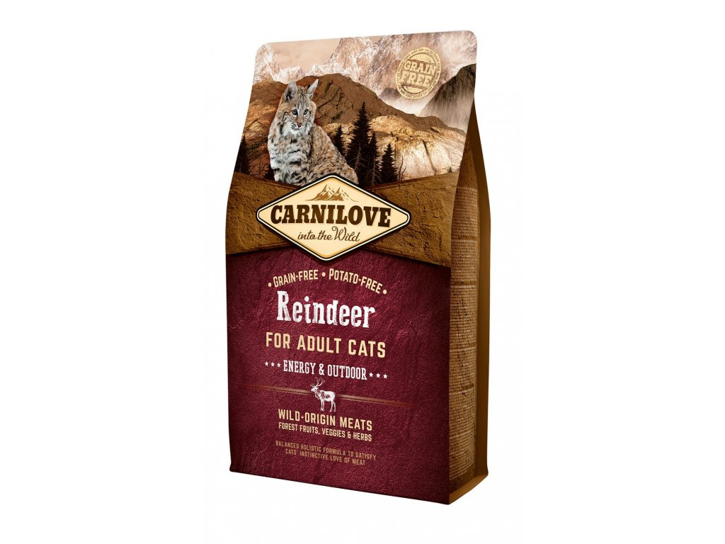 6618 carnilove cat grain free reindeer adult energy outdoor 2kg