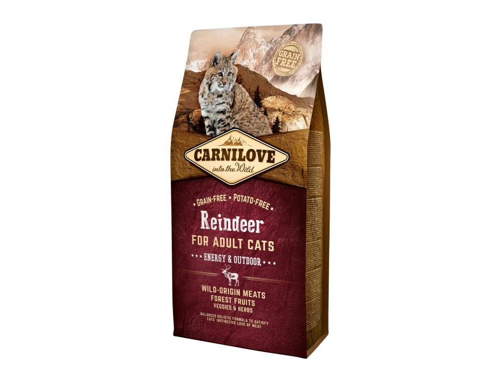 6624 carnilove cat grain free reindeer adult energy outdoor 6kg