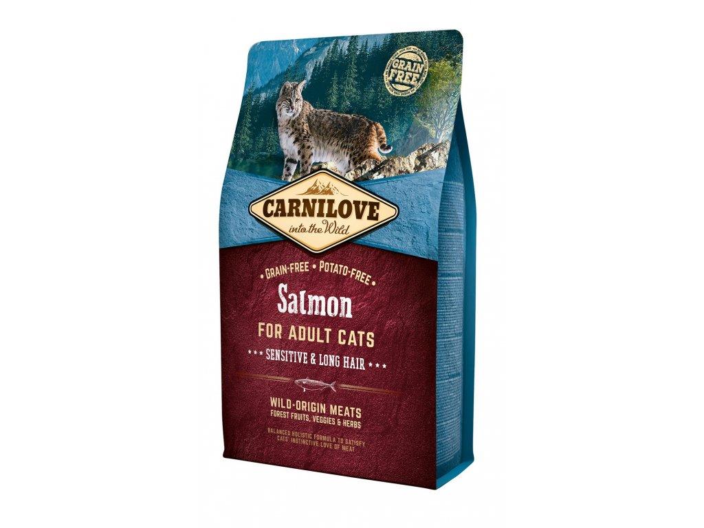 6627 carnilove cat grain free salmon adult sensitive long hair 2kg