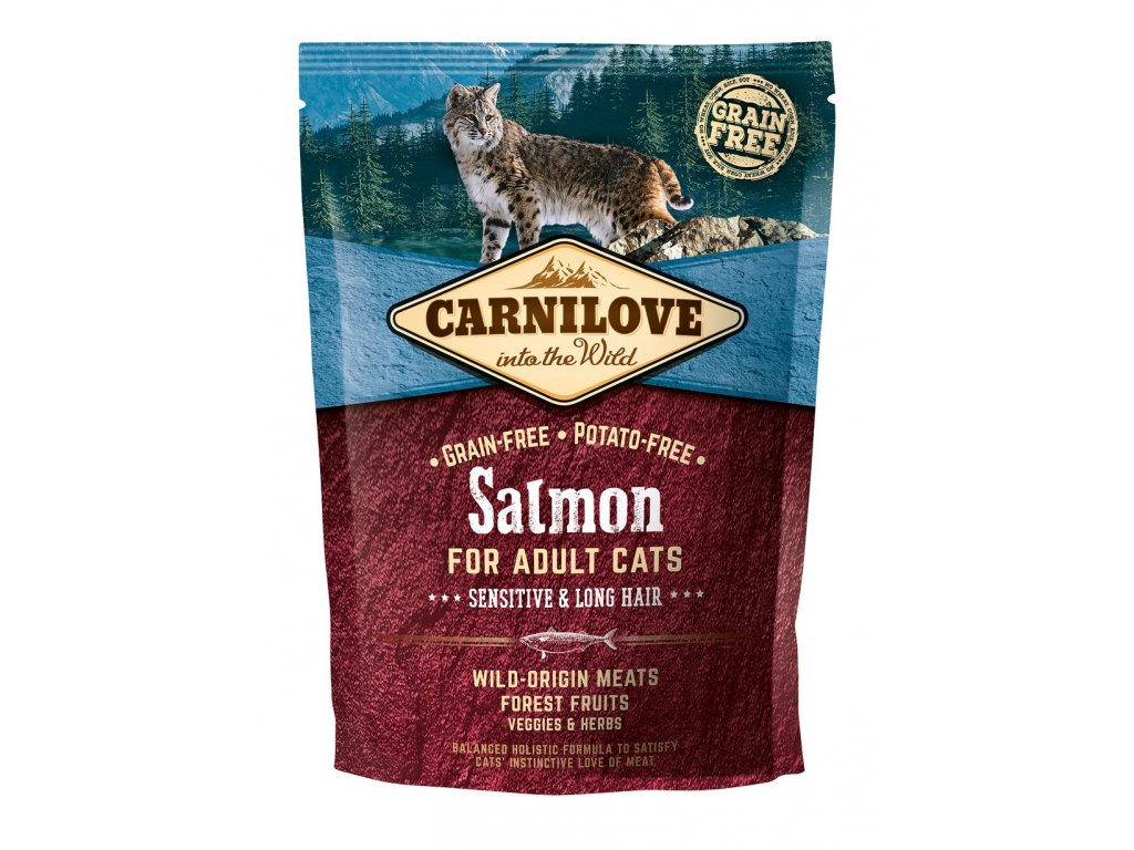 6630 carnilove cat grain free salmon adult sensitive long hair 400g