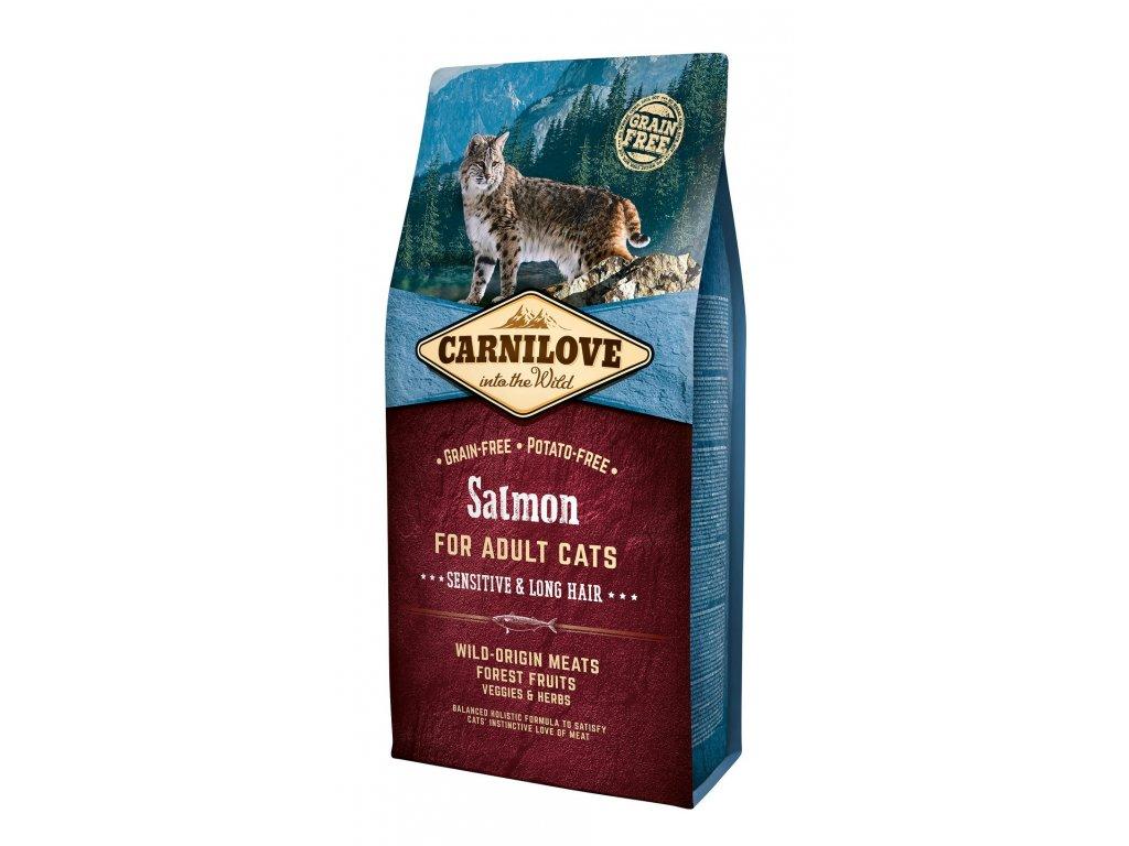6633 carnilove cat grain free salmon adult sensitive long hair 6kg