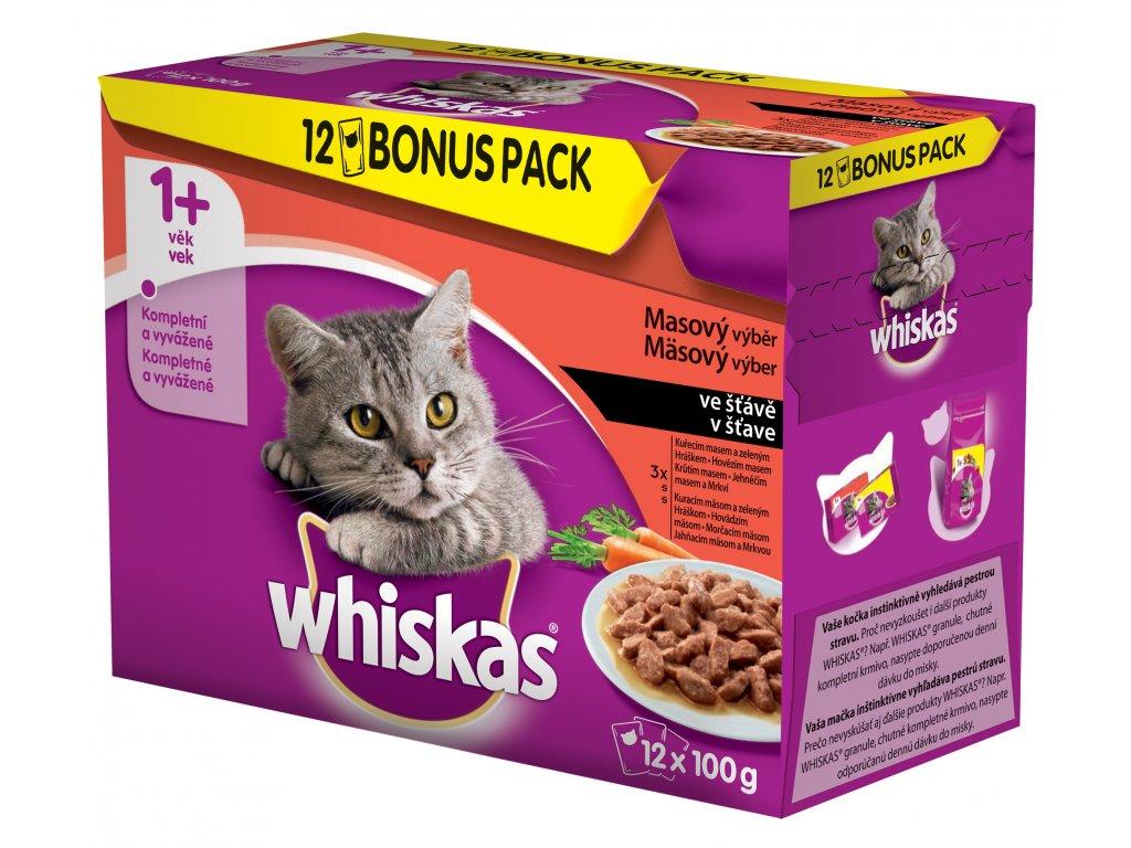8412 whiskas kapsicka masovy vyber ve stave bonus 12pack 1200g