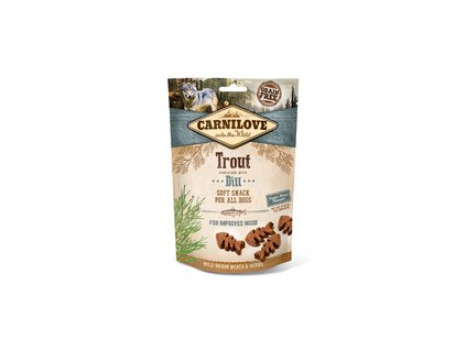 18636 carnilove dog semi moist snack trout with dill 200g