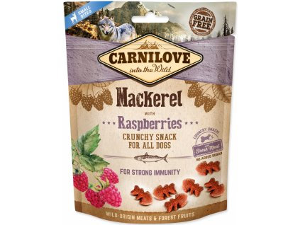 18777 kapsicka carnilove dog crunchy snack mackerel raspberry and fresh meat 200g