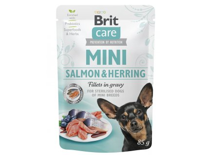 18816 kapsicka brit care mini salmon herring sterilised fillets in gravy 85g