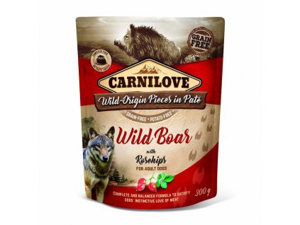 18846 kapsicka carnilove dog pate wild boar with rosehips 300g