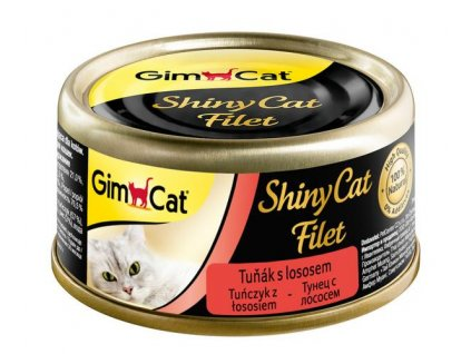 19146 konzerva shiny cat filet tunak s lososem 70g