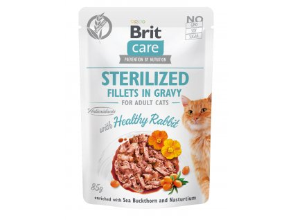 19662 1 brit care cat sterilized fillets in gravy rabbit 85g