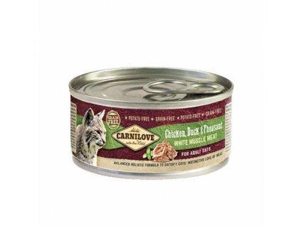 19794 konzerva carnilove wmm adult cats chicken duck pheasant 100g