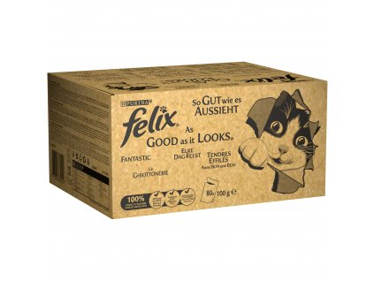 Kapsička FELIX Fantastix multipack hovadzie, kura, tuniak, treska v zele 80x100g
